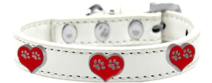 Paw Heart Widget Dog Collar White Size 14
